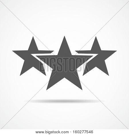 Gray icons of star. Three stars in flat design. Vector illustration. Simple star sign.