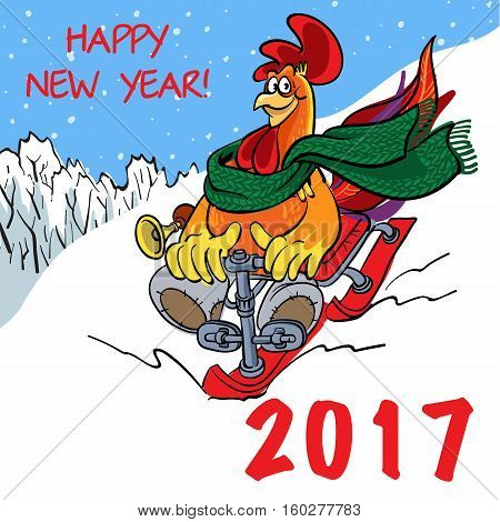 Vector illustration of funny cartoons rooster symbol of 2017 on the Chinese calendar. Vector element for New Year's design. Image of 2017 year of Red Rooster.