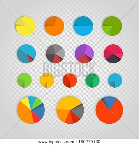Infographic elements collection. Color pie-chart diagram collection on transparent background. Business infographic vector elements