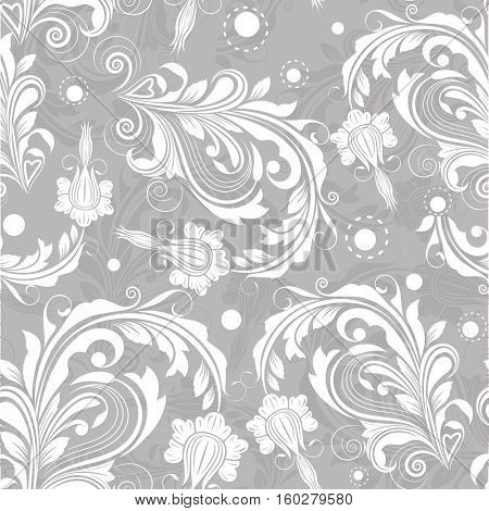 Seamless bright grey floral vintage pattern. Floral background.