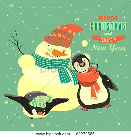 Funny penguins with snowman celebrating Christmas. Vector illustration