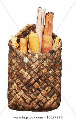 Rols Of Birchen Bark In The Basket