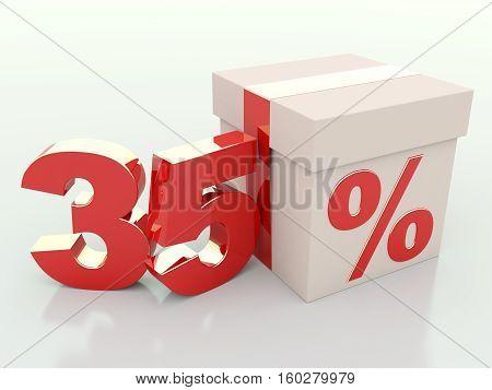 35 percent off. Gift box discount 3D render