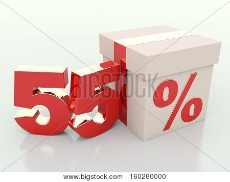 55 percent off. Gift box discount 3D render