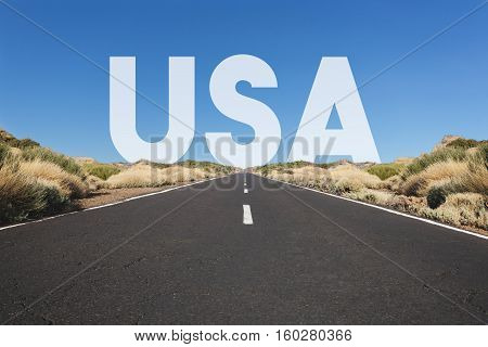 Empty highway straight road desert landscape USA