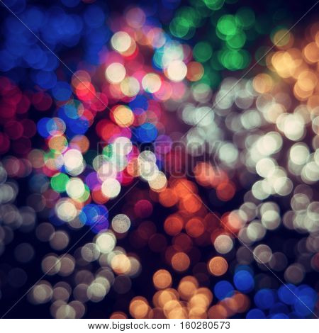 Colorful glowing lights. Bokeh background.
