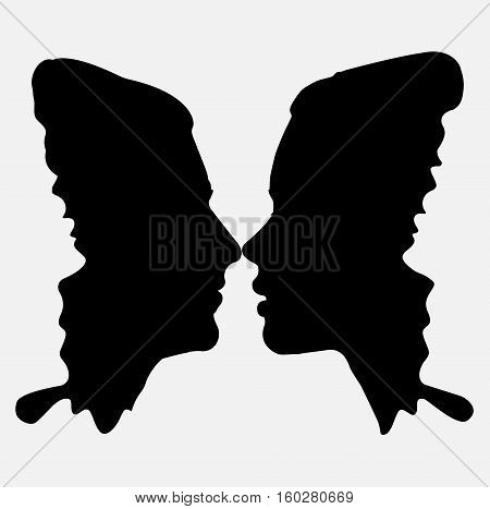 Woman and male loving couple tender love face to face profile butterfly silhouette. Vector square beautiful together sign close-up side view illustration isolated white background