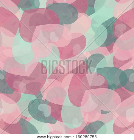 Seamless Grunge Dirty Valentine's Pattern With Hearts