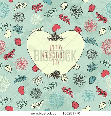 Valentine's Card With Cute Seamless Pattern With Heart, Flowers And Leaves