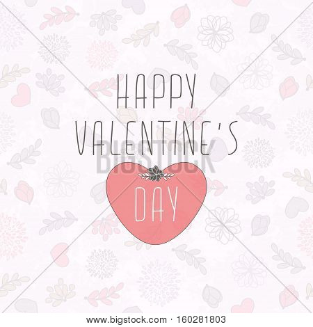 Valentine's Card With Seamless Cute Pattern With Hearts Flowers And Leaves