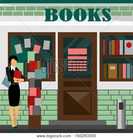 bookstore mall. Books shop building. Woman silhouette with booklet. A lot of paper in a store window. Library. Education market. Cute architecture facade. Flat style illustration. Boutique