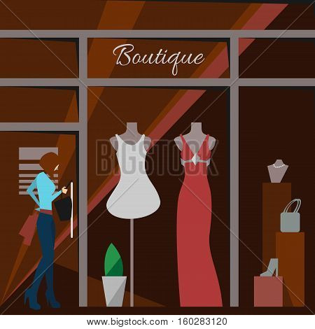 Clothing store. Man and woman clothes shop and boutique. Shopping, fashion, bags, accessories. Flat style illustration. Modern stylish outlet. Woman silhouette in the show window.