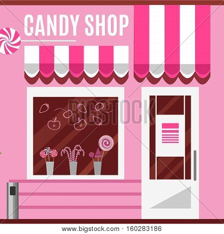 Candy shop in a pink color. Flat design illustration of small business concept.Tasty candies in a store window. Lollipops boutique. Stylish sweets outlet. Confectionery retail. Cute desserts.