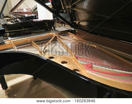 Interior mechanism of a grand piano with open sound board