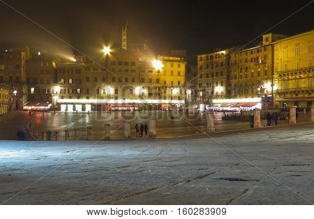 Siena Italian medieval town - Piazza del Campo by night