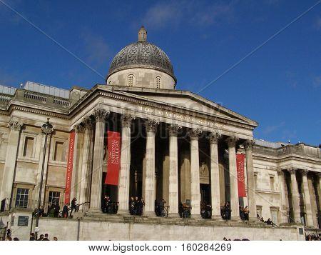 LONDON UK - CIRCA NOVEMBER 2009: The National Gallery in Trafalgar Square