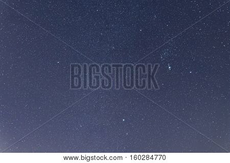 Blue Dark Night Sky With Many Stars. .constellations Orion