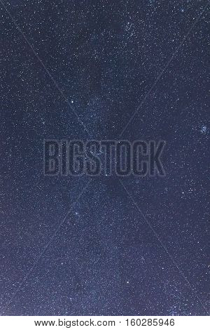 Blue Dark Night Sky With Many Stars. Taurus, Perseus, Gemini
