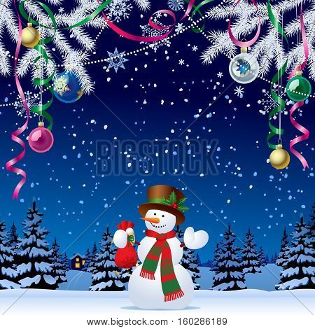 Snowman with a red small sack of gifts against the night winter forest in snow under Xmas decorations. Christmas and New Year greeting card
