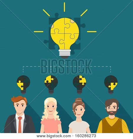 Cooperation and teamwork concept with light bulb puzzle. Big light bulb consisting of puzzle pieces and small lamps with parts.