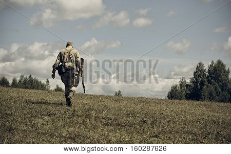 PERM RUSSIA - JULY 30 2016: Historical reenactment of World War II summer 1942. Soviet soldier