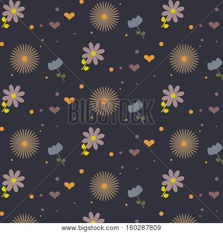 Flower pattern: blue, purpul and brown flowers. Cute hearts and polka dot. Dark blue background. Vector illustration. Suitable for background, fabric or home textile