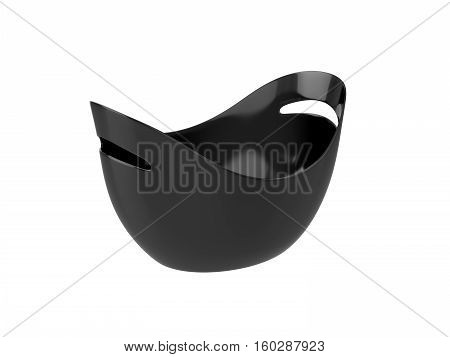 Oval black plastic bucket Isolated on White Background, 3D rendering