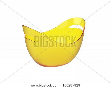 Oval yellow plastic bucket Isolated on White Background, 3D rendering
