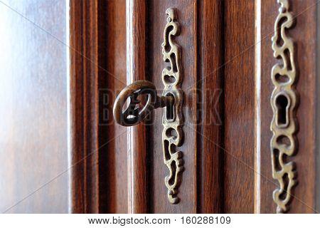 Vintage Key In Beautiful Wooden Door - Furniture