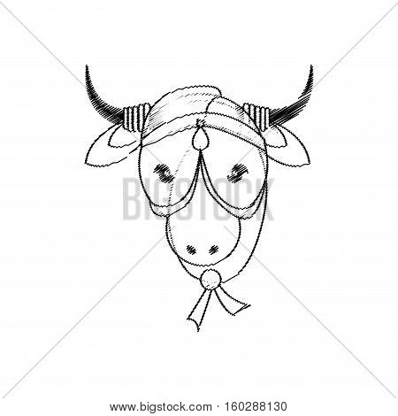 head indian sacred cow decorative vector illustration eps 10