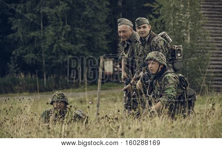 PERM RUSSIA - JULY 30 2016: Historical reenactment of World War II summer 1942. German soldiers.
