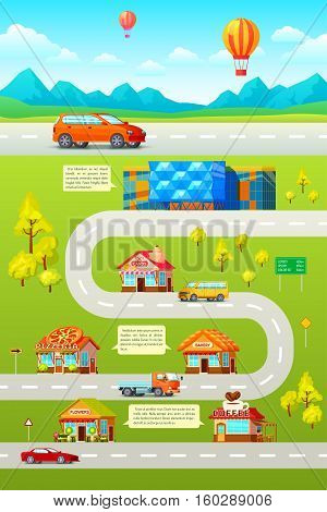 Orthogonal map poster with suburban road landscape orthogonal cars roadhouse stores and restaurants with text captions vector illustration