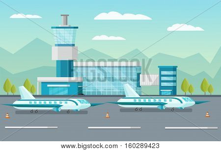 Airport building and airplanes on runway with traffic cones on natural landscape background orthogonal vector illustration