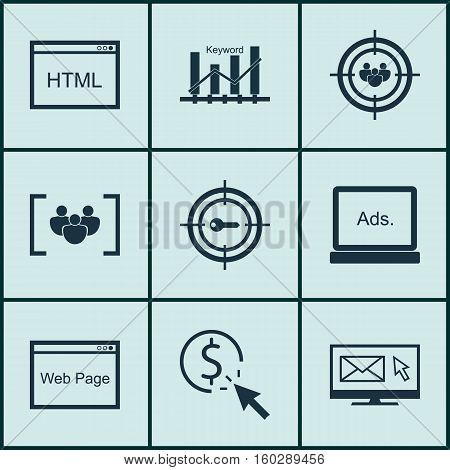 Set Of 9 Advertising Icons. Can Be Used For Web, Mobile, UI And Infographic Design. Includes Elements Such As Display, Focus, Audience And More.