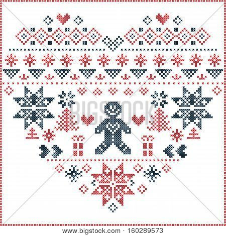 Heart Shape and inspired by  Norwegian Christmas and festive winter  pattern in cross stitch with Christmas tree, snowflake, gingerbread man , heart in red and blue