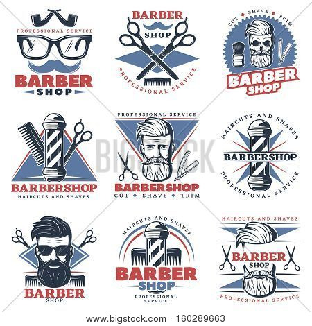 Set of nine isolated colorful emblems with barber hipster character images barbershop decorative accessories and captions vector illustration