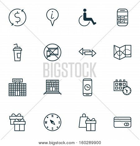 Set Of 16 Traveling Icons. Can Be Used For Web, Mobile, UI And Infographic Design. Includes Elements Such As Paper, Paralyzed, Info And More.