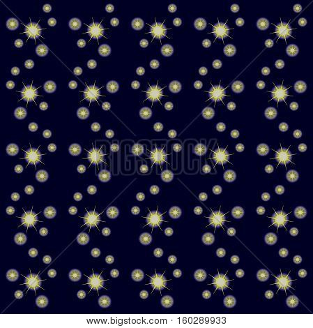 Seamless starry sky, yellow stars on dark blue, stock vector illustration