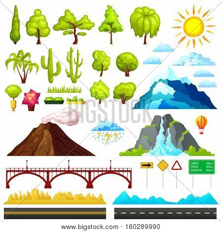 Isolated cartoon landscape constructor set with sample trees mountains clouds bridges and road signs for combining vector illustration