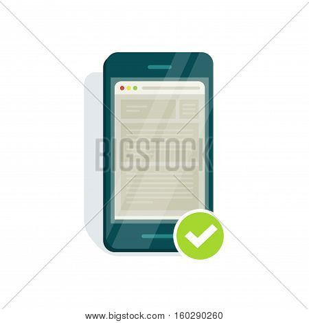 Mobile adapted website icon vector illustration, flat style smartphone with mobile browser, web page browser and checkmark, mobile responsive compatible site isolated on white background
