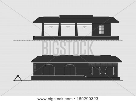 Railway station and goods shed. Vector illustration.
