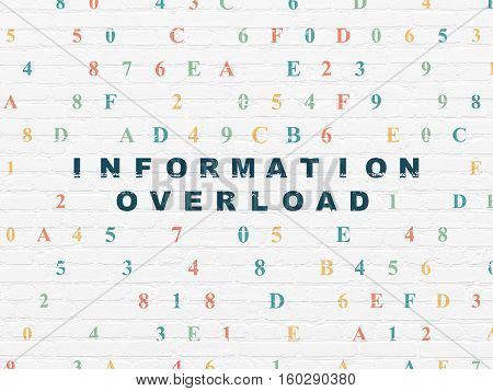 Information concept: Painted blue text Information Overload on White Brick wall background with Hexadecimal Code