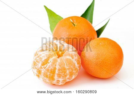 Mandarin tangerine citrus fruit isolated on white background.