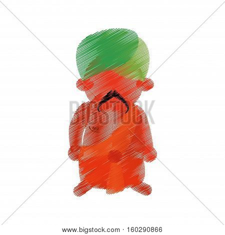colored hand drawing indian man mustache turban vector illustration eps 10