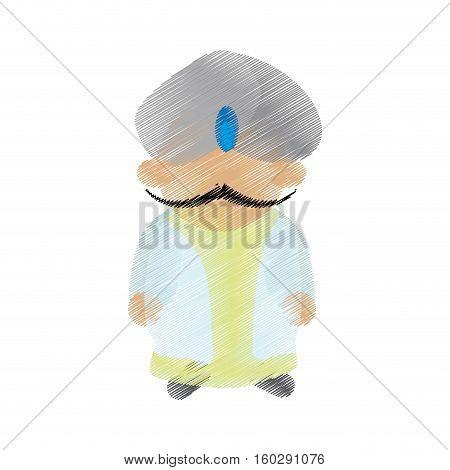 cartoon indian man with mustache turban dhoti vector illustration eps 10