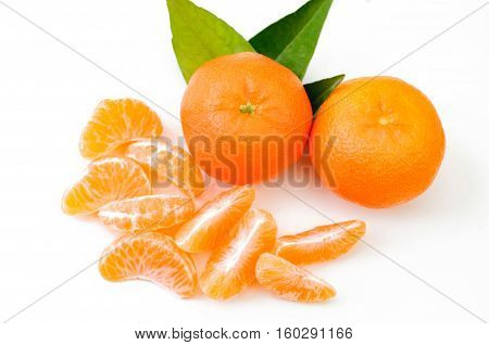 Ripe mandarin citrus isolated tangerine mandarin orange on white background.