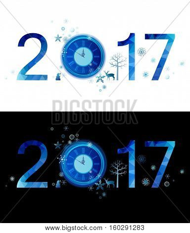 Blue winter composition of number. Merry Christmas and New Year 2017 with holiday clock, snowflakes, decorative design elements. Nice looking on the white, black and any background.