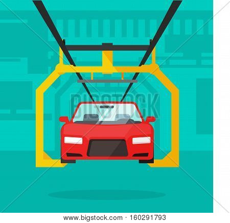 Car production line vector illustration, automobile manufacturing industrial conveyor, auto lifted on robotic equipment on assembly factory