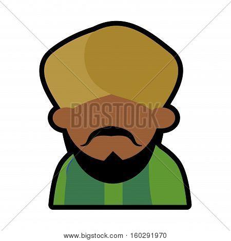avatar face indian man bearded mustache turban green dhoti vector illustration eps 10