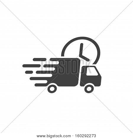 Delivery truck icon vector symbol, fast shipping cargo van, flat black and white style quick courier transportation isolated on white background